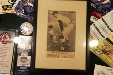 Dick Radatz Jr. keeps a framed yellowing newspaper clipping of him in a Red Sox uniform poised to pitch with his famous dad at a Red Sox father/son game at Fenway Park in the mid-1960s.
